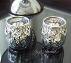 Moroccan VINTAGE LACE Tea Light Candle Holder Glass Wedding Gift BLUE/GREY