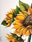 ORIGINAL Abstract SUNFLOWERS ink CONTEMPORARY watercolour painting SUMMER Floral
