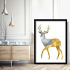 GEOMETRIC Yellow & Grey STAG Art Print Deer Animal Wall Art Picture Poster