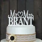 Wedding Cake Toppers Personalized Custom Acrylic Silver Glitter Party Decoration