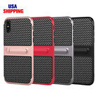 Slim Carbon Fiber Pattern Stand Holder Protective PC+TPU Cover Case For iPhone X