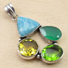 Natural TURQUOISE & Other Gemstone Pendant, 925 Silver Plated Many Colours