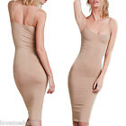 Womens CASUAL Club Party Spaghetti Strap Tight Fit Stretch Long Knee Dress NUDE