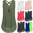Sexy Womens Summer Chiffon Sleeveless Vest T Shirt Blouse Ladies Tops Plus Size