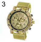 Hip Hop Bling Bling Rappers Gold Finish CZ Metal Mesh Band Watch + Stud Earrings