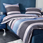 Janine Mako Satin Bettwäsche moments 98019-05 mauve blau ecru gestreift modern