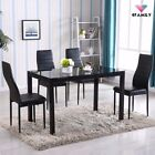 5 Piece Dining Table Set 4 Chairs Glass Metal Kitchen Room Breakfast Furniture фото