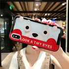 Lovely Cartoon Kumamon Glass Clear Case Cover Bumper for iPhone X 6S 7Plus 8Plus
