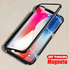 Magnetic Adsorption metal case for Apple iphone X 10 luxury tempered glass cover
