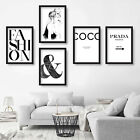 Set of 5 Gallery Wall Original fashion PRINT picture POSTER coco sketch & quote
