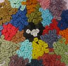 "Hand-dyed 38"" Square BUTTONS, 2 Holes , Assorted Colors, Lots of 25, 50, 100"