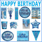 GLITZ BIRTHDAY BLUE Tableware Plates Cups Balloons BIRTHDAY Party Child/Adult