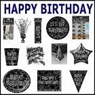 GLITZ BIRTHDAY BLACK Tableware Plates Cups Balloons BIRTHDAY Party Child/Adult