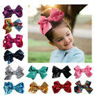Big Sequin Bow Hair Clip Ribbon Alligator Clips for Girls Kids Sides Accessories