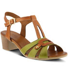 New Spring Step Women's STAFANI-GRM Green Multi Leather Ankle Strap Sandals
