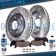 Rear Drilled Slotted Disc Brake Rotors & Ceramic Pads for 2008 - 2011 Leaf Rogue