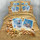 3D Beach Sand Shell Sea Starfish Bedding Sheet Blankets Duvet Cover Bed Sheets