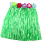 New Kids Adult Hawaiian Hula Grass Skirt Flower Wristband Party Beach Dress NP