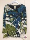 Jess and Jane Hibiscus Multi-Color Blue Green 3/4 Sleeve Shirt Size New with Tag