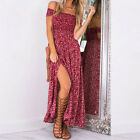 Women's Boho Floral Maxi Long Skirt Dress Summer Beach Evening Party Sundress UK