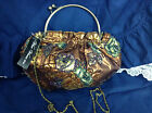 Bronze and Gold Tone Flower Snap Metal Circle Puff Shimmer Bag and Strap