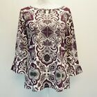 Charter Club Womens Top 3/4 Sleeve Keyhole Pullover Shirt White Purple Printed