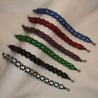 Beaded Bracelet - bronze with clear, black, green, purple, red or blue