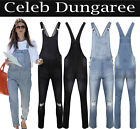 New Women's Ladie's Denim Dungarees Slim Fit Ripped Wash Jeans Jumpsuit 8 TO 18