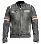 Retro 2, Men's Vintage Cafe Racer Biker Black Distressed Real Leather Jacket