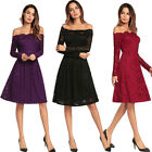 Women's Lace Flower Off Shoulder Evening Prom Bridesmaids Party Cocktail Dress