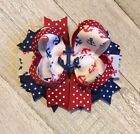 Patriotic Anchor Boutique Hair Bow
