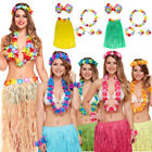 6PC LADIES HAWAIIAN HULA SKIRT HEADBAND WRISTBANDS LEI BRA FANCY DRESS COSTUME
