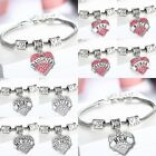 Fashion Women Heart Crystal Rhinestone Mom Family Chain Pendant Bracelet Charm