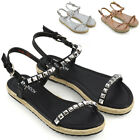 Womens Flat Strappy Studded Espadrilles Ladies Platform Summer Holiday Sandals