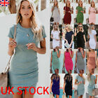 Uk Womens Asymmetric Bodycon Short Sleeve Holiday Ladies Summer Party Mini Dress