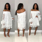 Women off shoulder Pineapple sleeves casual club party loose mini loose dress