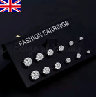 Cubic Zirconia Studs Earrings Plated Round Large Small Pack Pearls Jewellery Uk