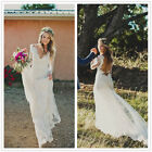 V Neck Lace Boho Bridal Gown Beach Backless Wedding Dress 2 4 6 8 10 12 14 16