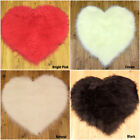 NEW FLUFFY WASHABLE SOFT PLAIN  FAKE FAUX FUR HEART SHAPE SHEEPSKIN RUG DOORMAT