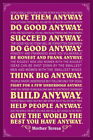 101372 Mother Teresa Anyway Purple Quote Decor WALL PRINT POSTER UK