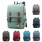 Damsel Women Men Canvas Leather Travel Backpack Satchel Rucksack Laptop School Bag