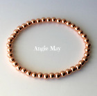 """Solid Copper 4mm Beaded Petite Healing Stretch Bracelet 6"""" - 10"""" Made in the USA image"""