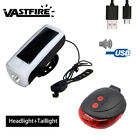 Solar Power USB Rechargeable Bicycle LED Lights Bike Front Light Rear Lamp