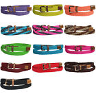 WOMEN/LADIES SKINNY BRAIDED STRETCH BELT- ONE SIZE - 13 COLORS
