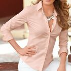 US Womens OL Slim Fit Long Sleeve Career Office Blouse Button Down Shirt Top