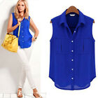 Fashion Summer Women Casual Button Chiffon Sleeveless Shirt Loose Tops Blouse