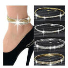 Fab Stretchy 1-5 Rows Anklet  chain  Diamante Rhinestones Silver or Gold (JD2b8)
