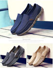 Mens Big Size Bleathable Slip-on Canvas Loafter Flat Comfort Tainers Boat Shoes