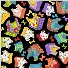 Loralie Happy Dog Houses Fabric Black Toss 100% Quilting Cotton BTHY BTY
