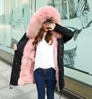 Luxury Womens Thick Real Fur Lined Hooded Coat Parka Jackets Winter Outwear U135